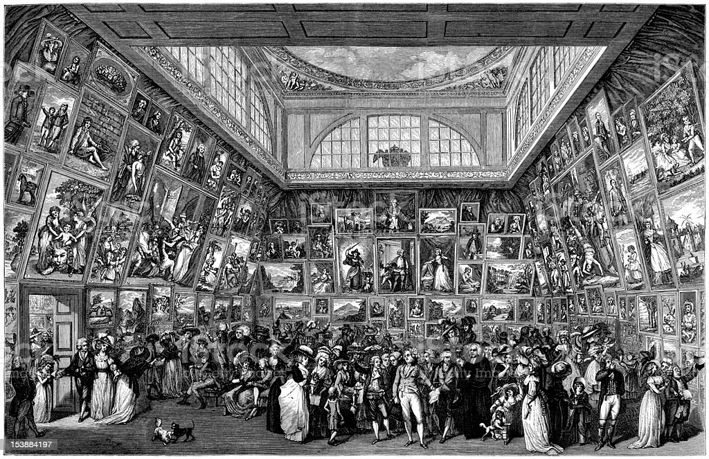 Exhibition Of The Royal Academy, Somerset House, 1787 (illustration)  Royalty Free