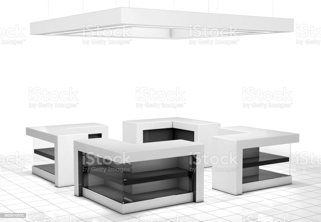 Exhibition Stand Tables : Exhibition stand with tables showcases stock vector art more