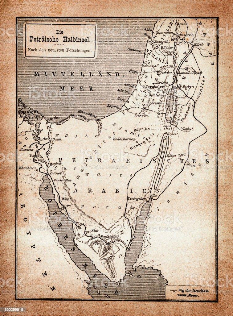 Exodus of the Israelites map vector art illustration