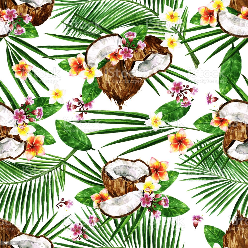 Exotic Coconuts. Watercolor seamless pattern. royalty-free exotic coconuts watercolor seamless pattern stock vector art & more images of arts culture and entertainment