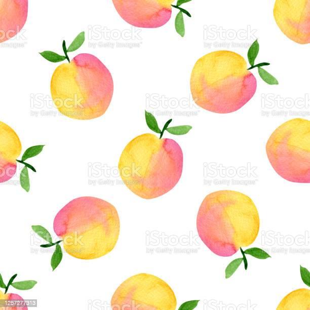 エキゾチックなフルーツイラスト水彩オレンジピンク桃は白い背景に分離されたシームレスなパターン生地ラッピング壁紙のデザインのためのフルーツの背景 まぶしいのベクターアート素材や画像を多数ご用意 Istock