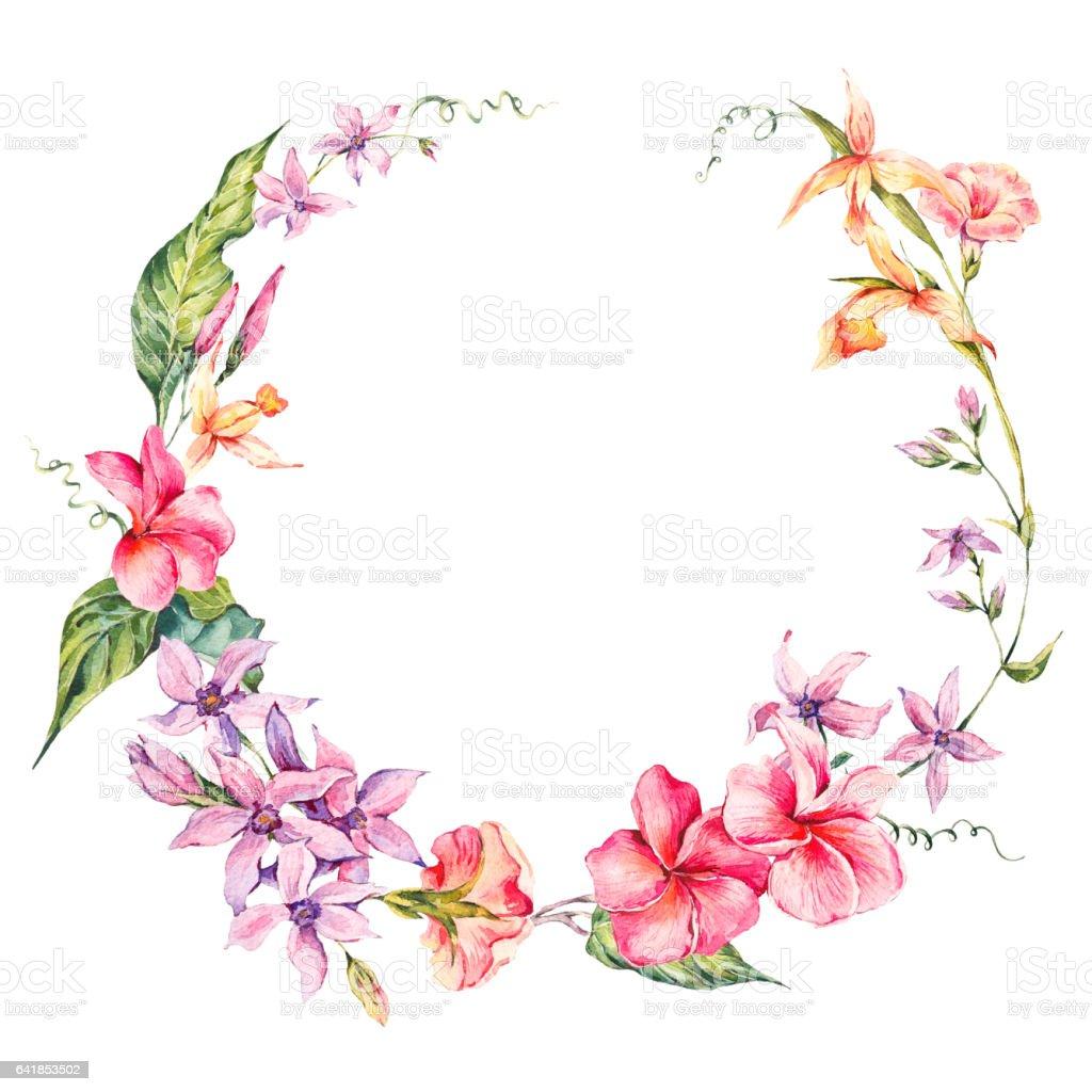 marco redondo ex ticos flores ramitas y hojas arte vectorial de stock y m s im genes de. Black Bedroom Furniture Sets. Home Design Ideas