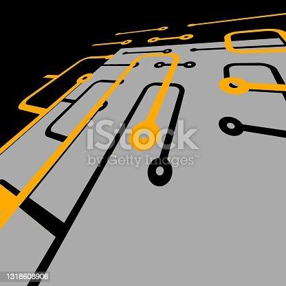 3D explodiu a visão de camadas individuais de conexões estilizadas de circuito de computador em laranja e cinza em um fundo preto