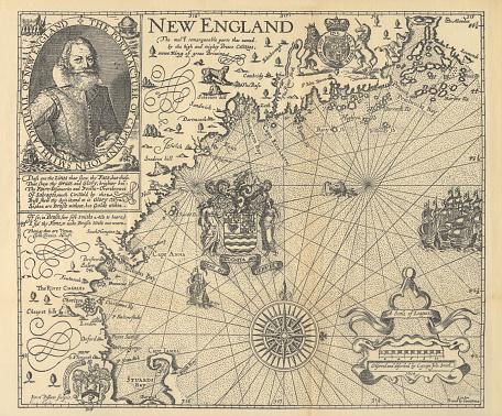 Explorer John Smith Map of New England, Circa 1624