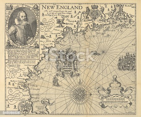 Beautifully Illustrated Antique Engraved Victorian Illustration of Historical Map of New England from Explorer Captain John Smith, Circa 1624. Source: Forerunners and Competitors of the Pilgrims and Puritans, Published in 1899. Original edition from my own archives. Copyright has expired on this artwork. Digitally restored.