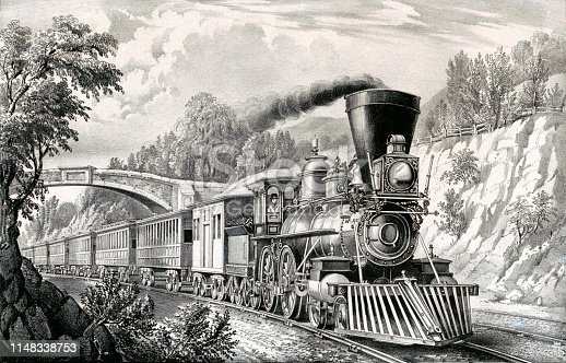 Vintage illustration shows a train passing under a bridge as it travels through the countryside with smoke rising into the sky from the chimney of the engine car.