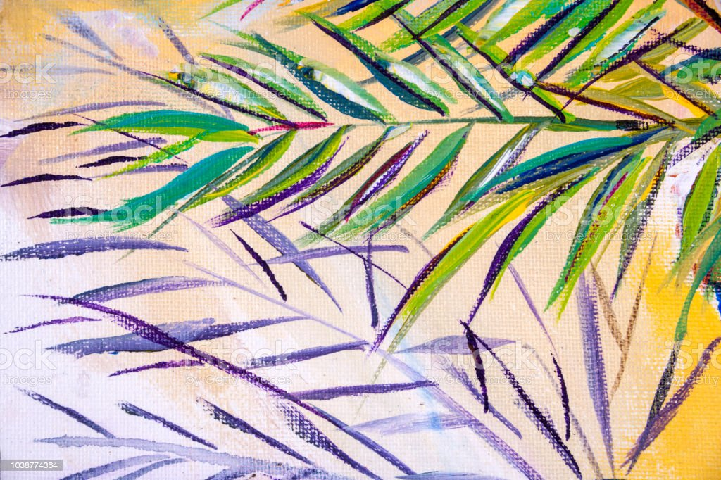 Expressionistisch Palme Baum Laub Und Ein Sandstrand
