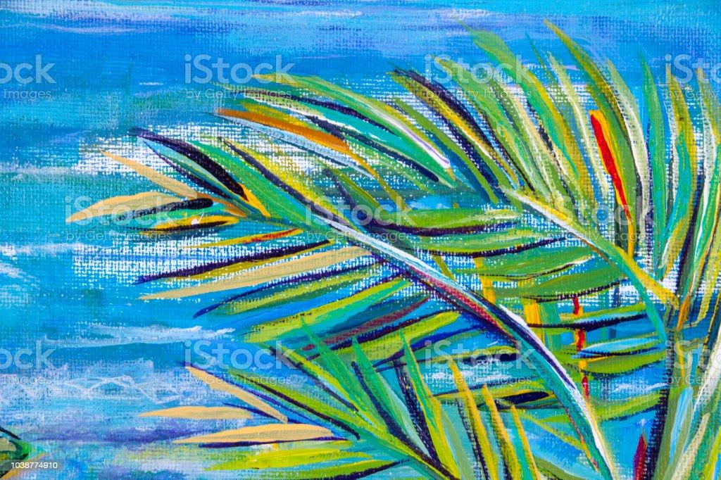 Expressionistisch Palm Baum Laub Und Blaue Meer Hintergrund