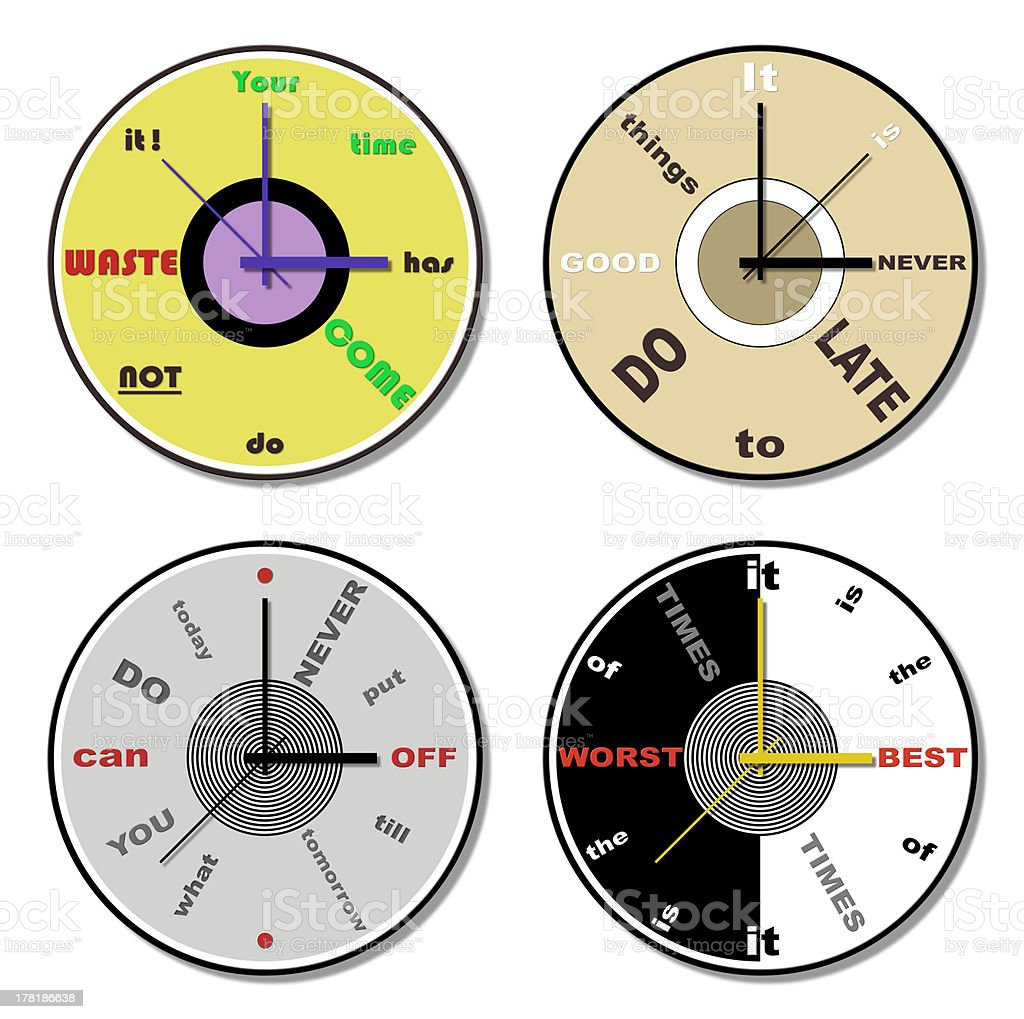 expressions clock theme set royalty-free stock vector art