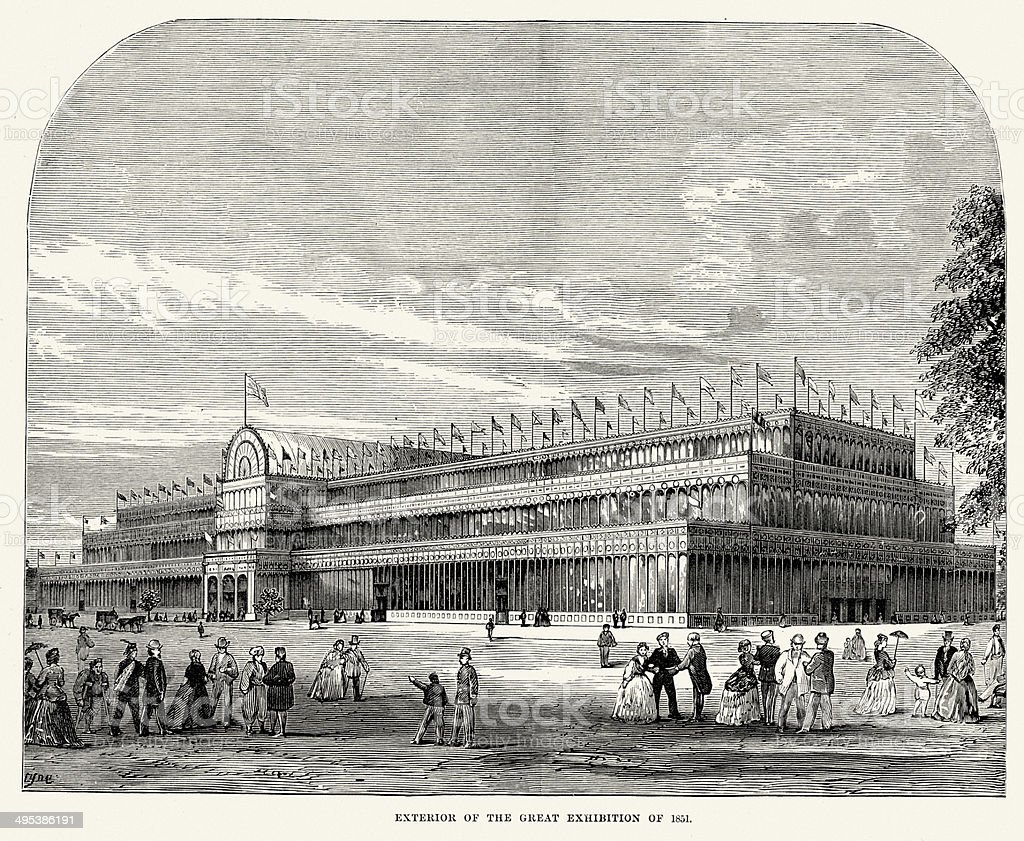 Exterior of the Great Exhibition of 1851 vector art illustration