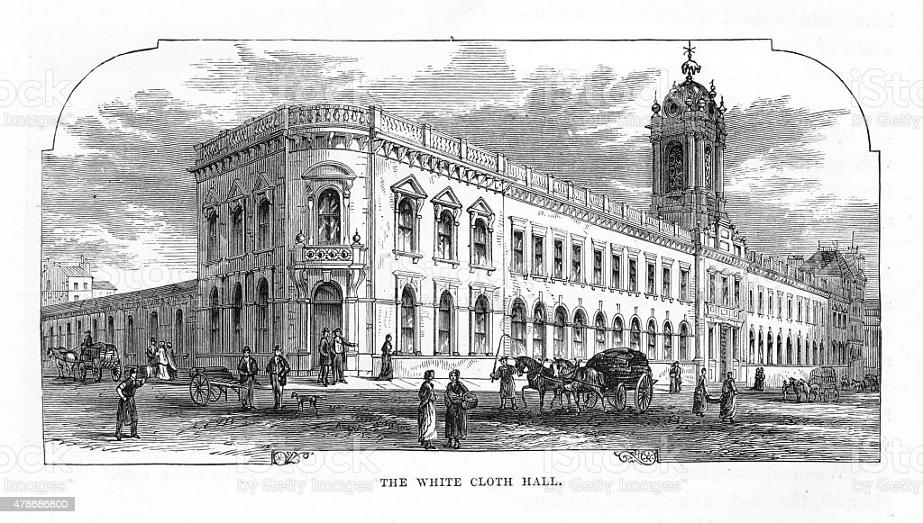 Exterior of The White Cloth Hall, Leeds, England Victorian Engraving vector art illustration