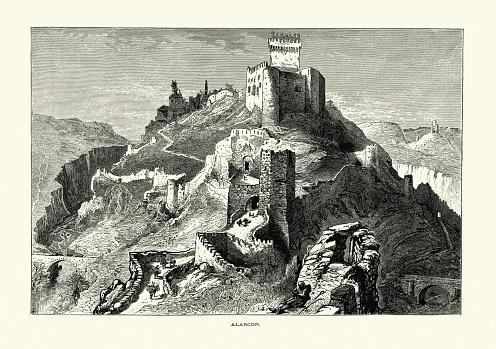 Exterior, Surroundings, Arab Castle of Alarcon, Cuenca, Spain, 19th Century