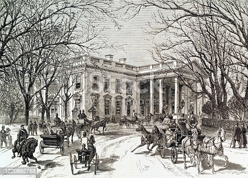 Vintage engraving features an exterior view of The White House surrounded by horse-drawn carriages on the driveway leading to the north portico entrance, circa 1877.