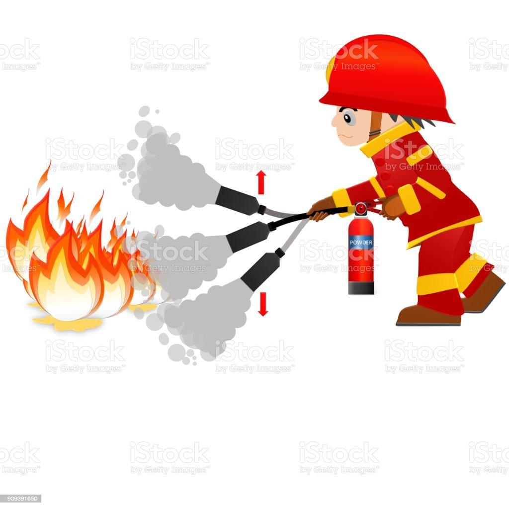 royalty free fireman putting out fire cartoon clip art vector rh istockphoto com fireman clip art firefighters fireman clipart free