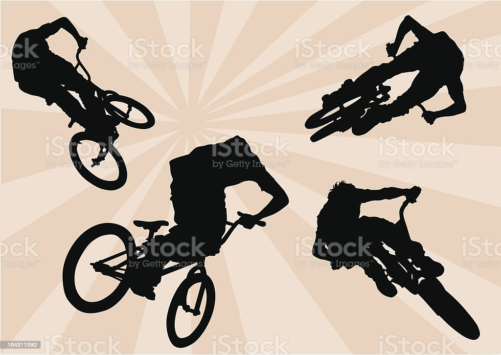 Extreme cyclists vector art illustration