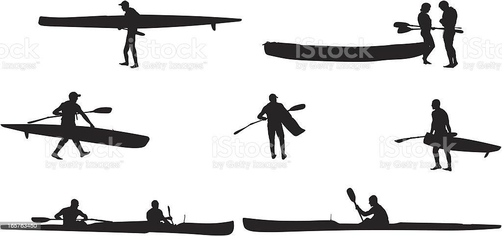 Extreme sports men kayaking royalty-free stock vector art