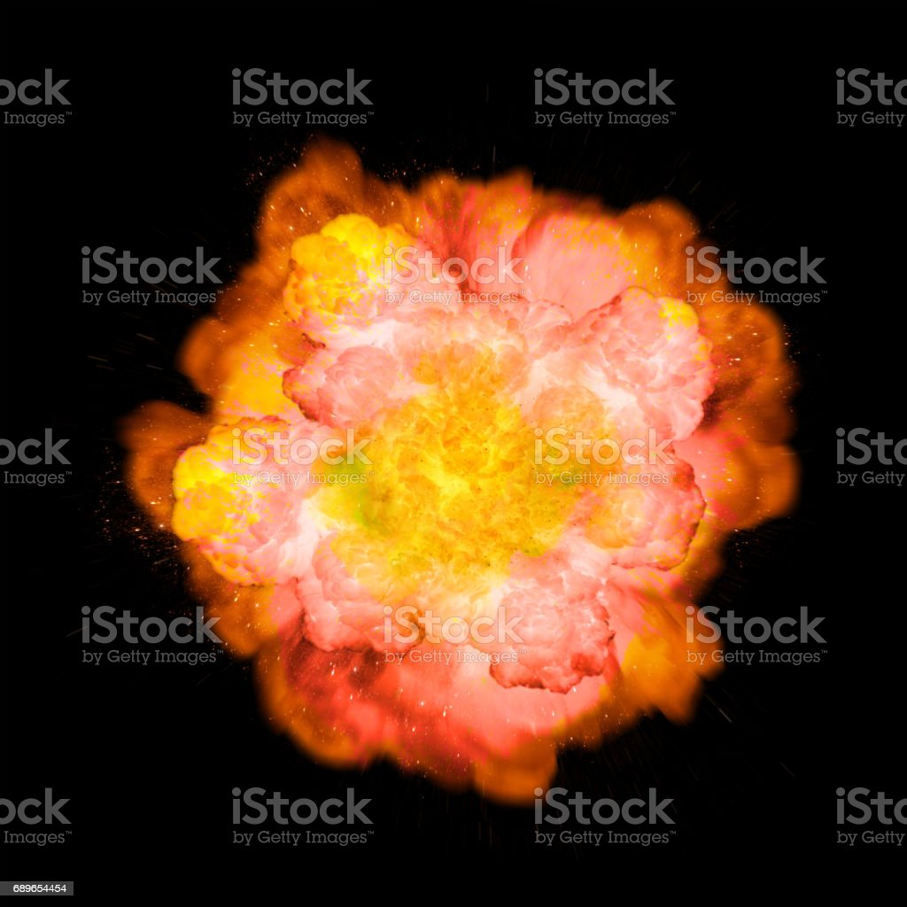 Extremely massive fire explosion, orange and pink color with sparks isolated on black background vector art illustration