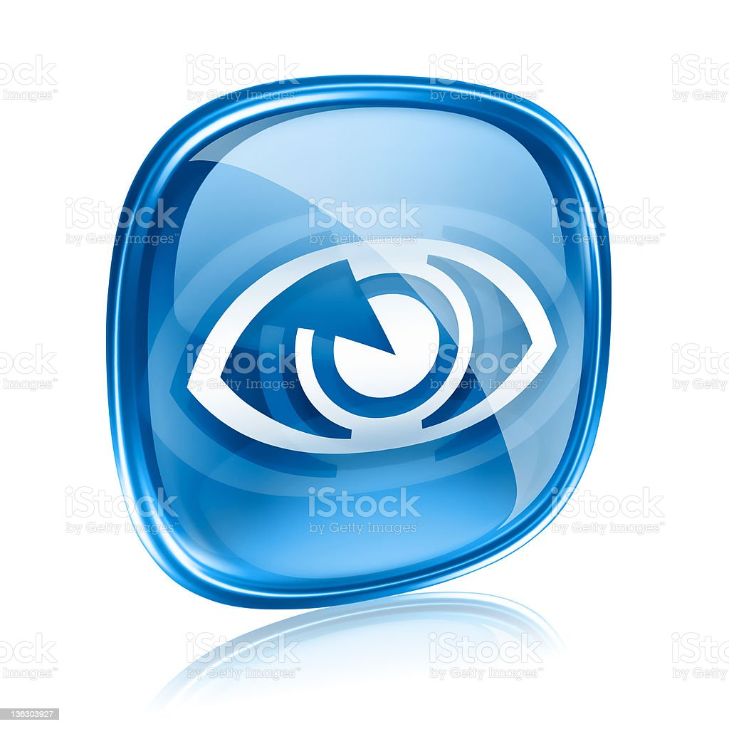 eye icon blue glass, isolated on white background. royalty-free stock vector art