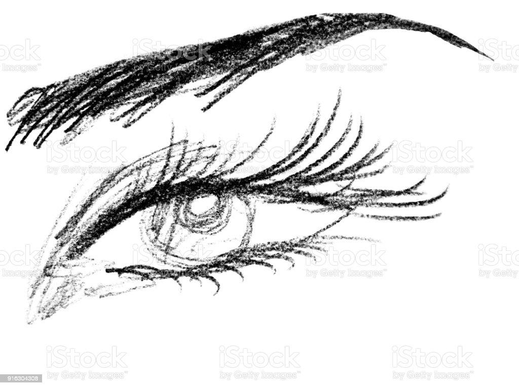 Auge Von Einem Madchen Nahaufnahme Zeichnen Mit Einem Bleistift Das