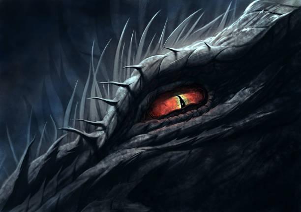 eye of dragon illustration - dragon eye stock illustrations, clip art, cartoons, & icons