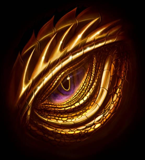 eye of golden dragon - dragon eye stock illustrations, clip art, cartoons, & icons
