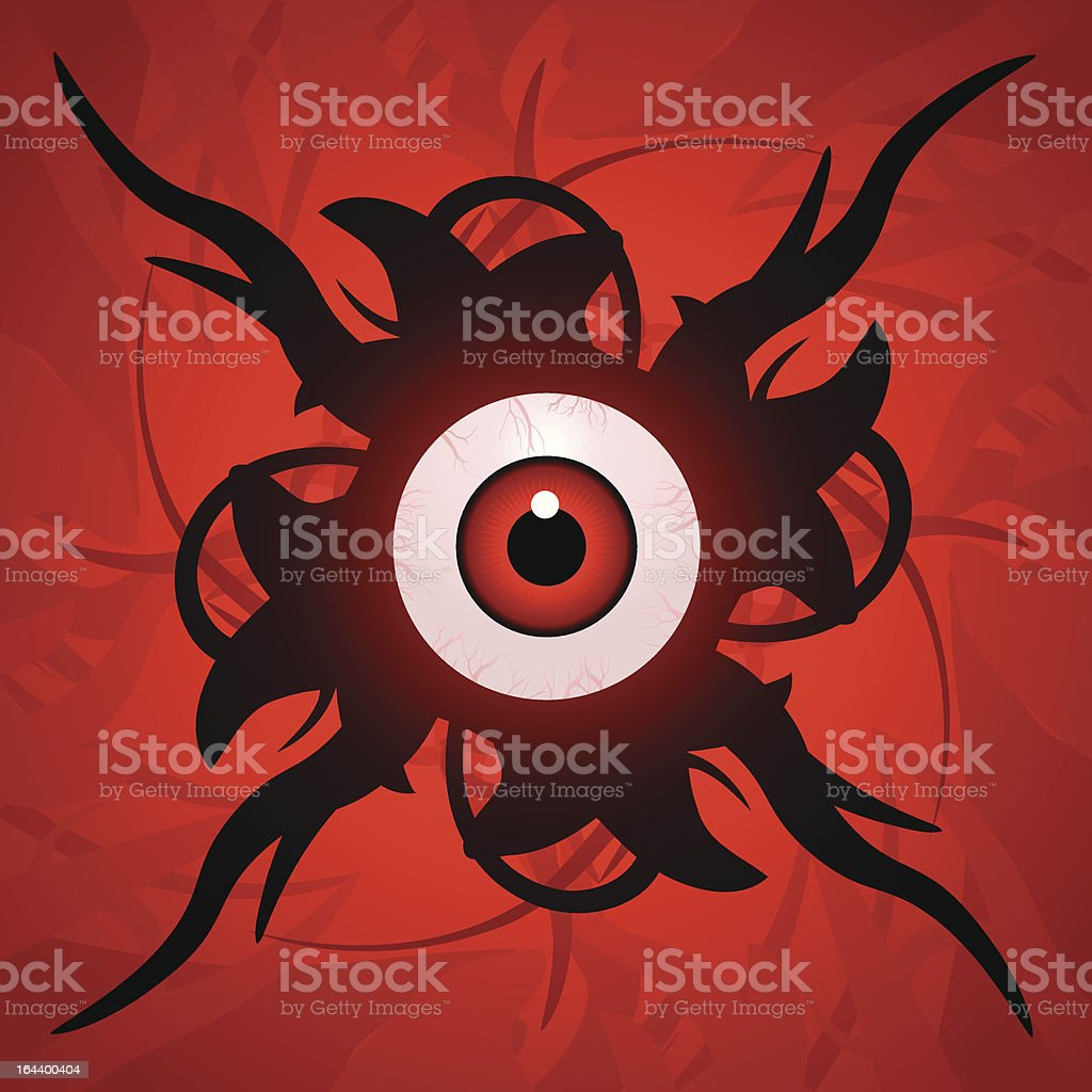 Eyeball with tentacles vector art illustration