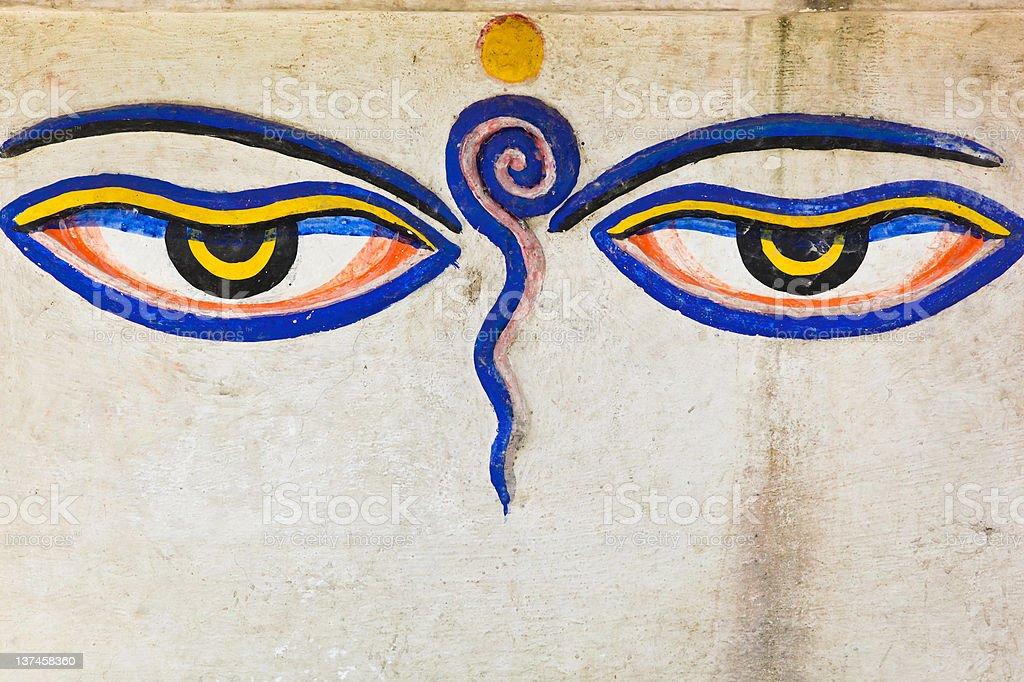 Eyes of Buddha vector art illustration