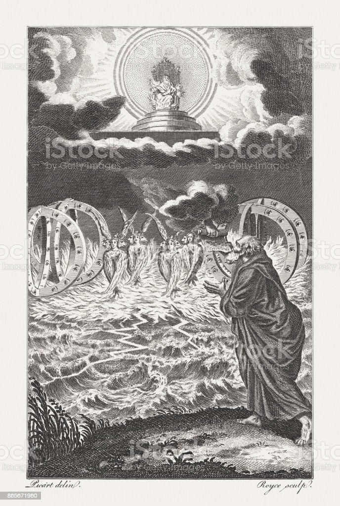 Ezekiel's first Vision of the Cherubins and Wheels (Ezekiel 1) vector art illustration