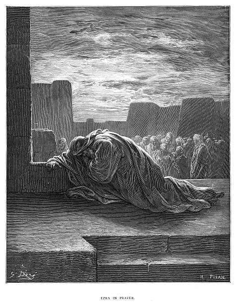 illustrazioni stock, clip art, cartoni animati e icone di tendenza di ezra in prayer engraving 1870 - dante alighieri