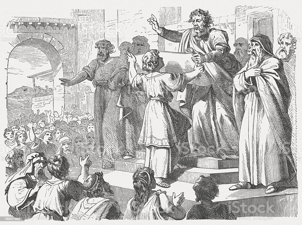 Ezra reads the people the law (Nehemiah 8), published 1877 vector art illustration