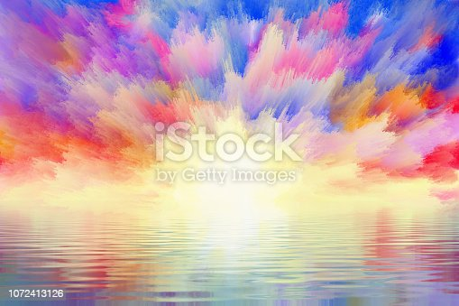 dramatic clouds reflected in water, digital and watercolor painting