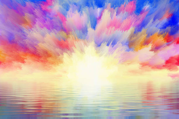 fabulous sunrise reflected in the water dramatic clouds reflected in water, digital and watercolor painting tranquil scene stock illustrations