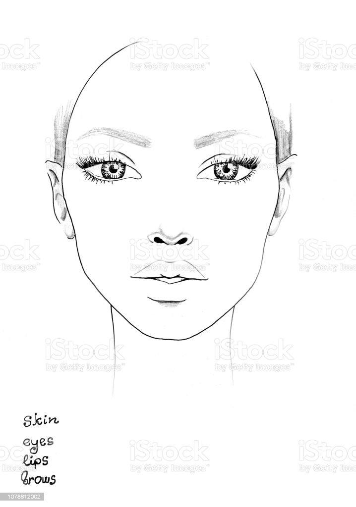 Face Chart Makeup Artist Blank Beautiful Woman Portrait Face