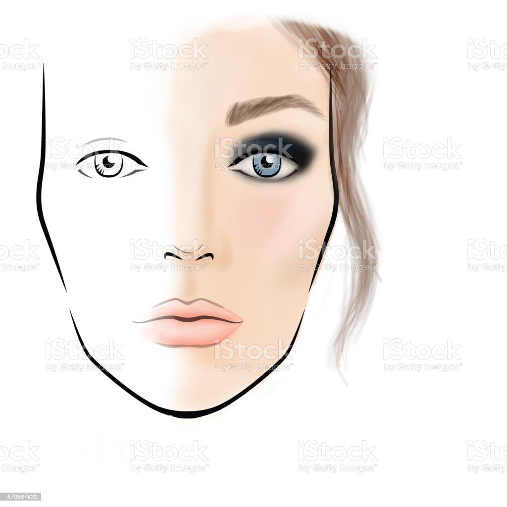 Face Chart Makeup Artist Blank Template Stock Vector Art More