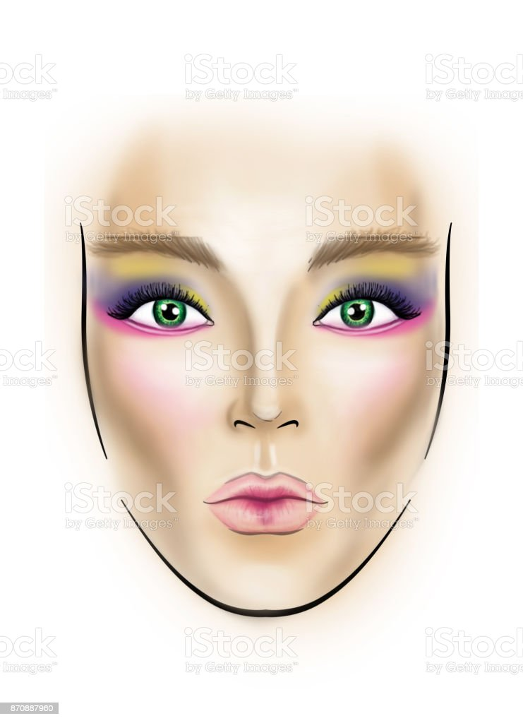 Face Chart Makeup Artist Blank Template Stock Vector Art & More ...