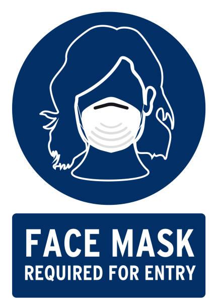 gesichtsmaske erforderlich - ffp2 maske stock-grafiken, -clipart, -cartoons und -symbole