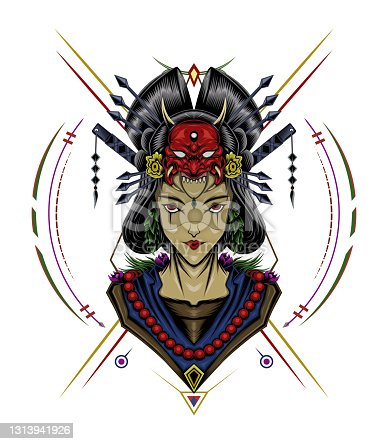 face of a geisha logo illustration. Japanese design template