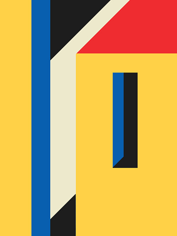 Face of building with window. very minimalist Bauhaus and memphis design. for modern poster