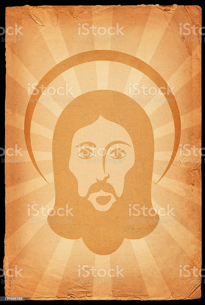 Face of Jesus on old paper background