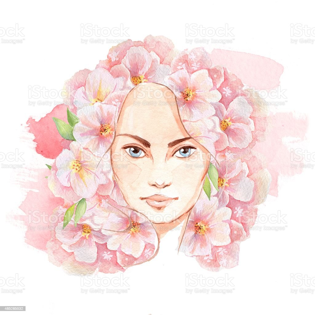 face of spring beautiful woman face and flowers stock vector art