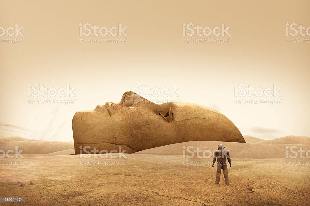 Face on The Mars vector art illustration
