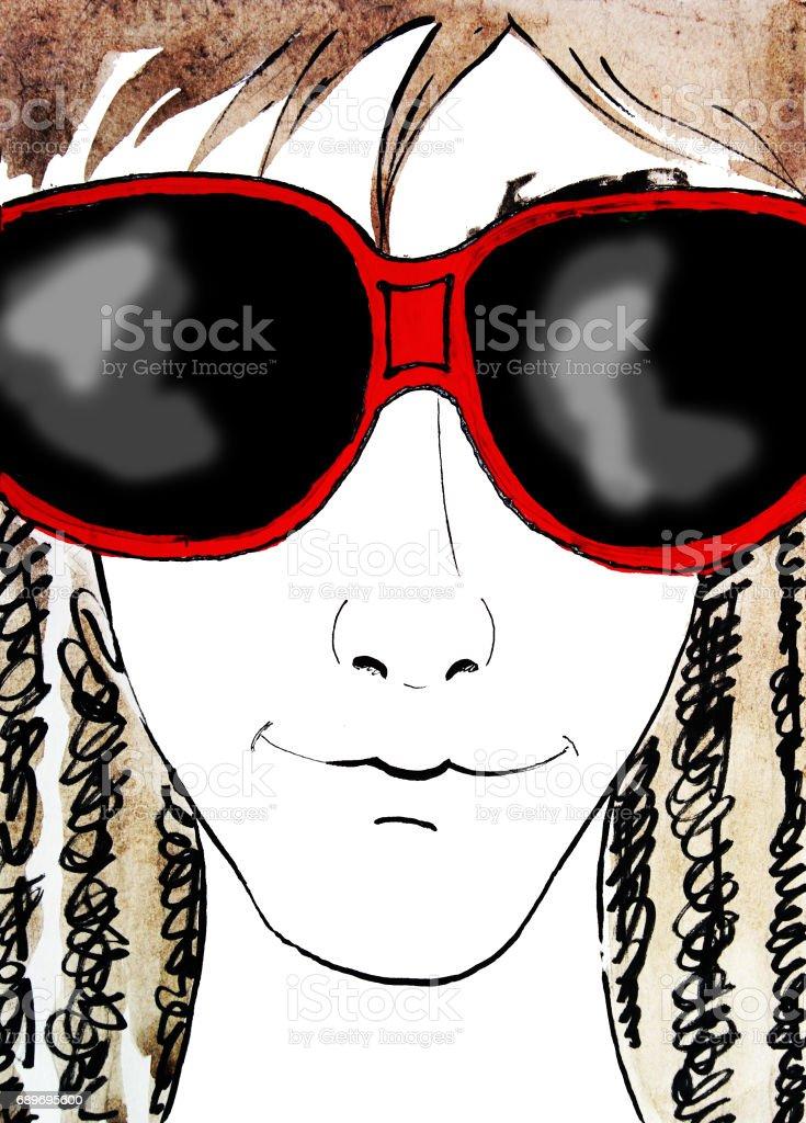 Faire Face Avec Des Lunettes De Soleil Rouges Main Dessin Illustration Aquarelle Vecteurs Libres De Droits Et Plus Dimages Vectorielles De A La Mode