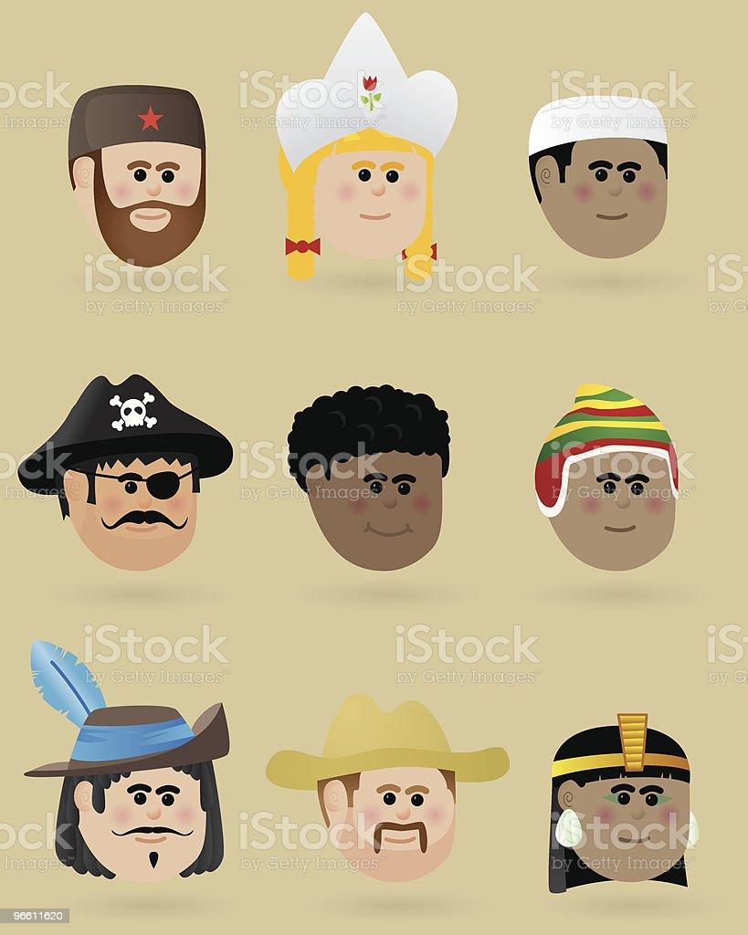 Faces of the world - Royaltyfri Afrika vektorgrafik
