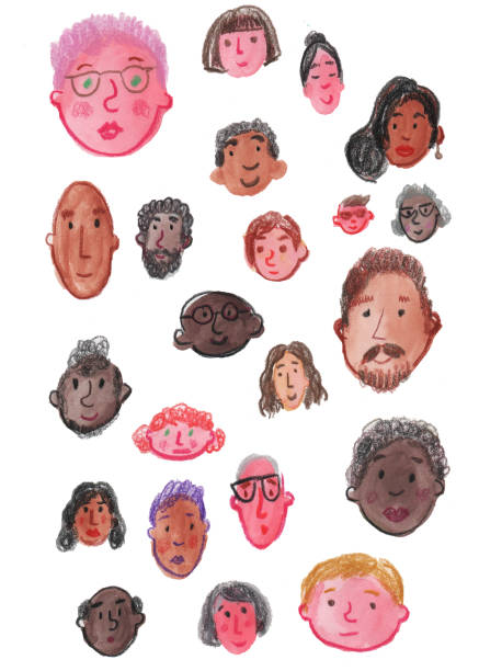 Faces watercolor and color pencil vector art illustration