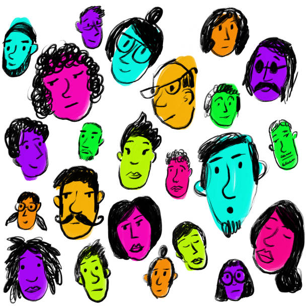 Faces with bright colors vector art illustration