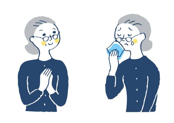 ilustrações de stock, clip art, desenhos animados e ícones de facial expression pattern of senior women (joy / problem) - mão no peito