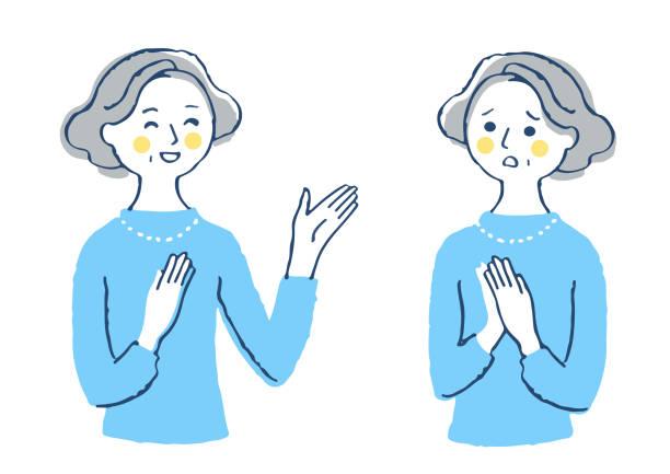 ilustrações de stock, clip art, desenhos animados e ícones de facial patterns of middle-aged women (joy / problem) - mão no peito