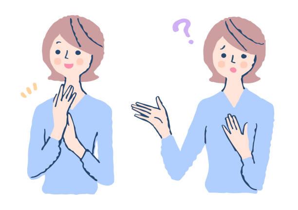 ilustrações de stock, clip art, desenhos animados e ícones de facial patterns of young women (joy / problem) - mão no peito