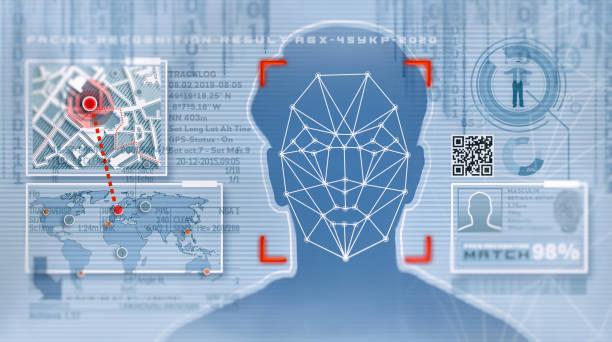 facial recognition technology concept gui for authentication - facial recognition stock illustrations