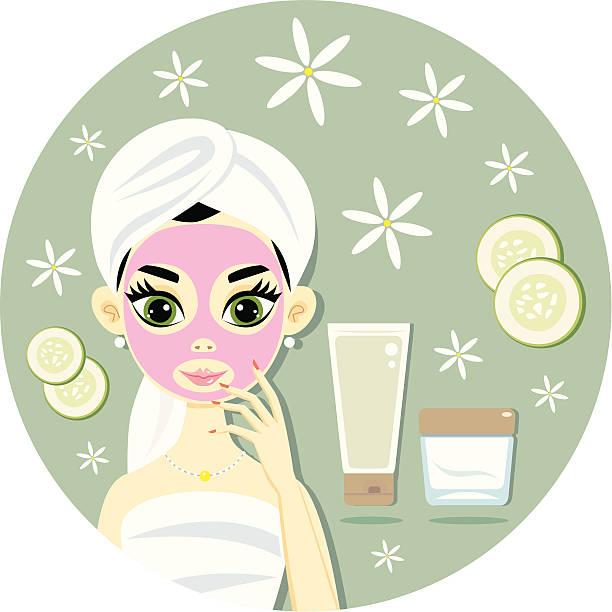 Gesichtsbehandlung mit Maske – Vektorgrafik